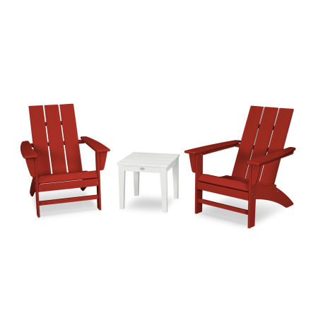 Modern Adirondack 3-Piece Set in Crimson Red / White