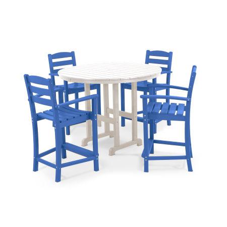 La Casa Café 5-Piece Counter Set in Pacific Blue