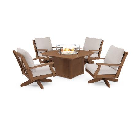 Braxton 5-Piece Deep Seating Swivel Conversation Set with Fire Pit Table in Teak / Dune Burlap