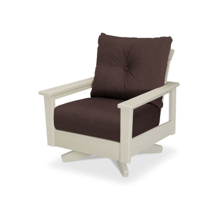 Prescott Deep Seating Swivel Chair in Sand / Cast Currant