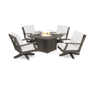 Braxton 5-Piece Deep Seating Swivel Conversation Set with Fire Pit Table in Vintage Finish