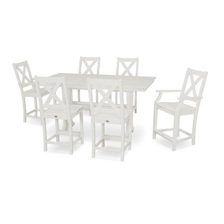Braxton 7-Piece Farmhouse Counter Set in White