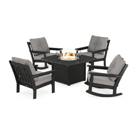 Vineyard 5-Piece Deep Seating Rocking Chair Conversation Set with Fire Pit Table in Black / Grey Mist