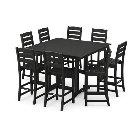 Lakeside 9-Piece Bar Side Chair Set in Black