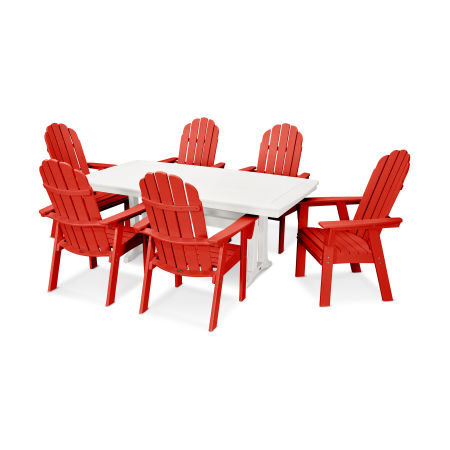 Vineyard Adirondack 7-Piece Nautical Trestle Dining Set in Sunset Red