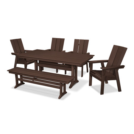 Modern Adirondack 6-Piece Farmhouse Dining Set with Bench in Mahogany