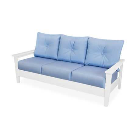 Prescott Deep Seating Sofa in White / Air Blue