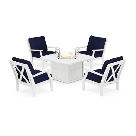 Braxton 5-Piece Deep Seating Conversation Set with Fire Pit Table in White / Navy