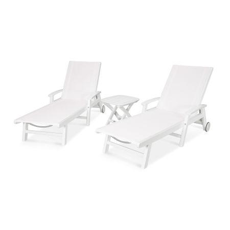 Coastal 3-Piece Wheeled Chaise Set in White / White Sling