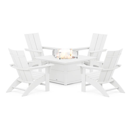 Modern Curveback Adirondack 5-Piece Conversation Set with Fire Pit Table in White