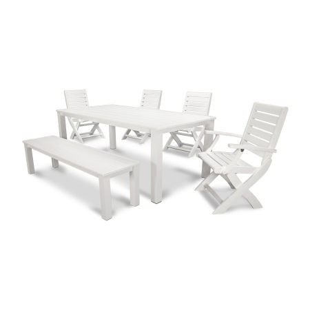 Signature 6-Piece Harvest Bench Dining Set in Satin White / White