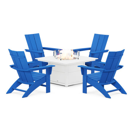 Modern Curveback Adirondack 5-Piece Conversation Set with Fire Pit Table in Pacific Blue