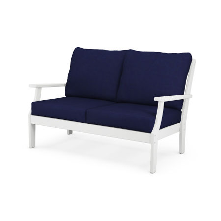 Braxton Deep Seating Settee in White / Navy