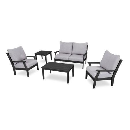 Braxton 5-Piece Deep Seating Set in Black / Granite