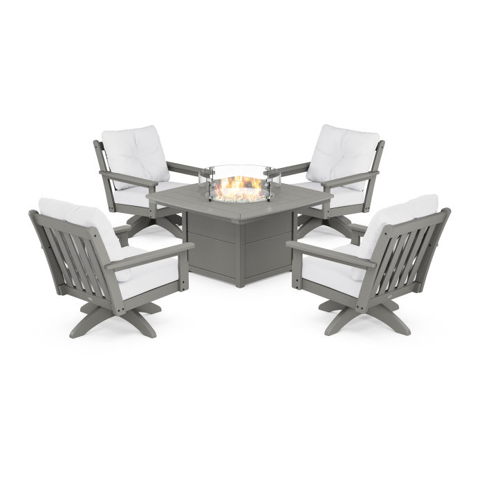 Vineyard 5-Piece Deep Seating Swivel Conversation Set with Fire Pit Table