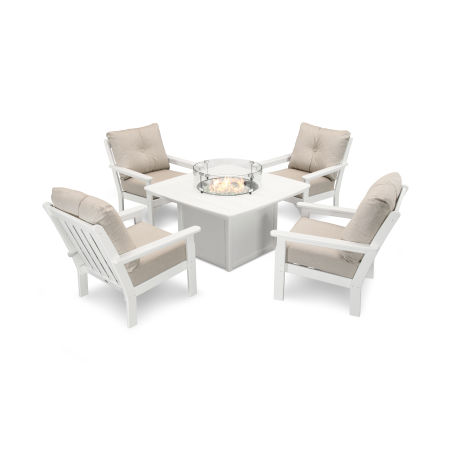 Vineyard 5-Piece Conversation Set with Fire Pit Table in White / Cast Ash
