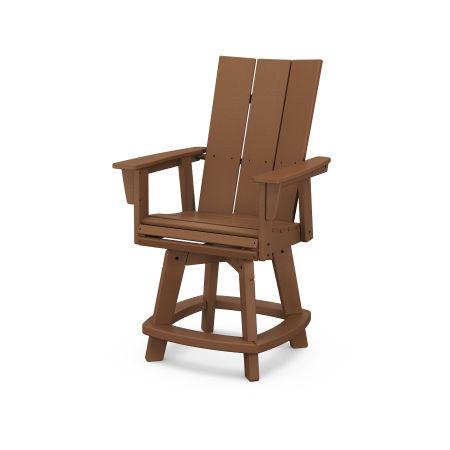 Modern Adirondack Swivel Counter Chair in Teak