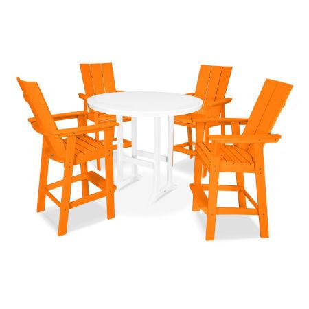 Modern Adirondack 5-Piece Nautical Trestle Bar Set in Tangerine / White