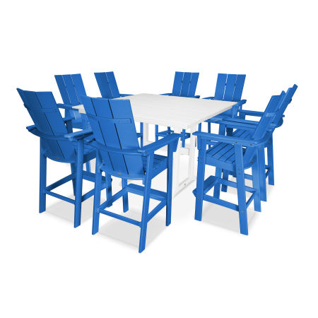 Modern Adirondack 9-Piece Farmhouse Bar Set in Pacific Blue / White