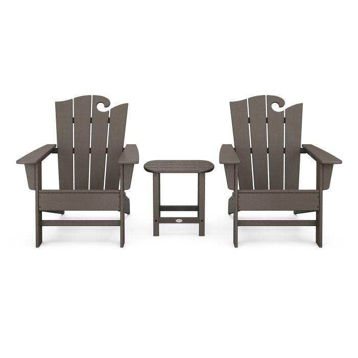 Wave 3-Piece Adirondack Set with The Ocean Chair in Vintage Finish