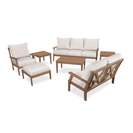 Braxton 7-Piece Deep Seating Set in Teak / Antique Beige