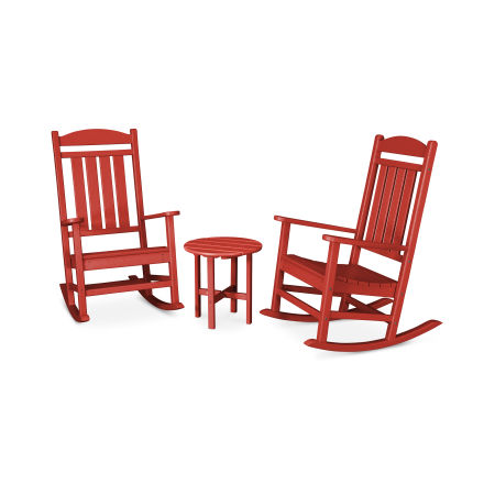 Presidential 3-Piece Rocking Chair Set in Sunset Red