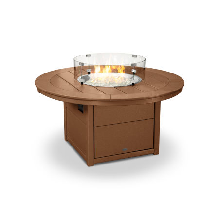 """Round 48"""" Fire Pit Table in Teak"""