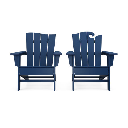 Wave 2-Piece Adirondack Set with The Wave Chair Left in Navy