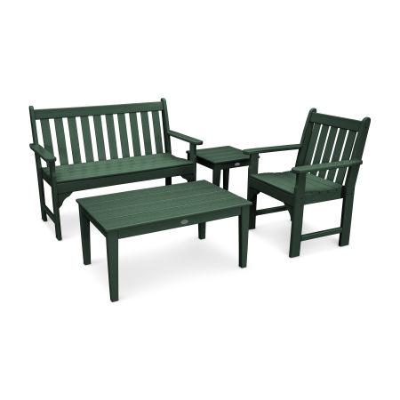 Vineyard 4-Piece Bench Seating Set in Green