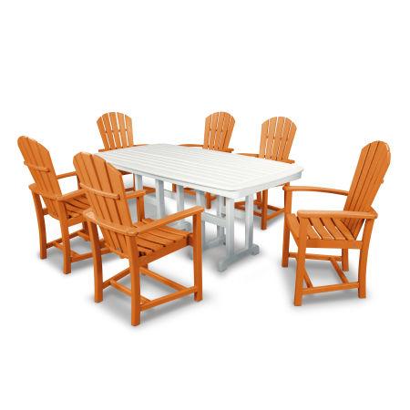 Palm Coast 7-Piece Dining Set in Tangerine / White