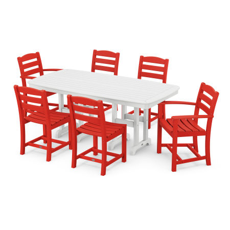 La Casa Café 7-Piece Dining Set in Sunset Red