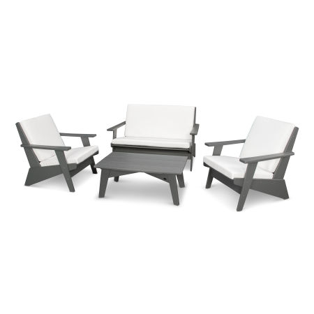 Riviera Modern Lounge 4-Piece Set in Slate Grey / Natural