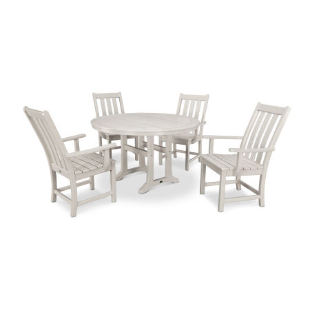 Vineyard 5-Piece Nautical Trestle Dining Set in Sand