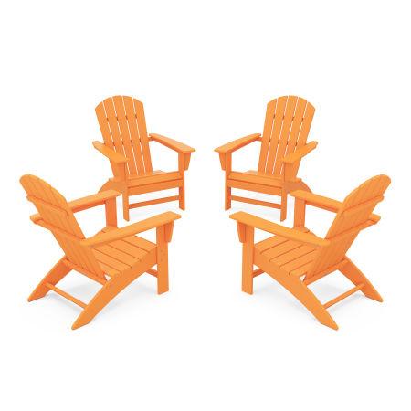 Nautical 4-Piece Adirondack Conversation Set in Tangerine