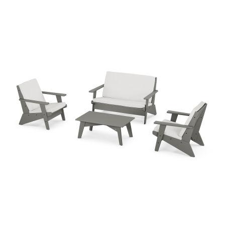 Riviera Modern Lounge 4-Piece Set in Slate Grey / Natural Linen