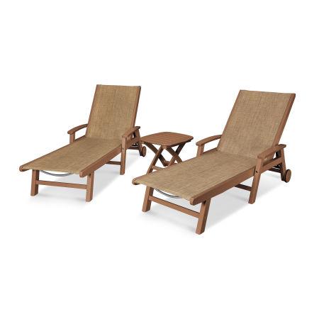 Coastal 3-Piece Wheeled Chaise Set in Teak / Burlap Sling