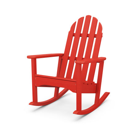 Classic Adirondack Rocking Chair in Sunset Red