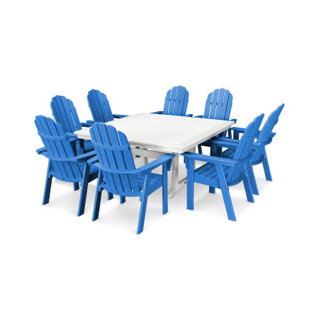 Vineyard Adirondack 9-Piece Nautical Trestle Dining Set in Pacific Blue / White