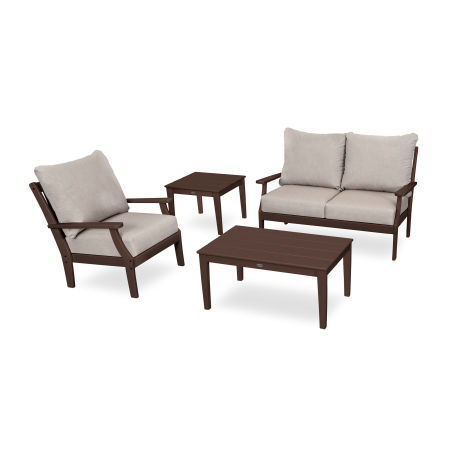 Braxton 4-Piece Deep Seating Set in Mahogany / Cast Ash