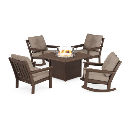 Vineyard 5-Piece Deep Seating Rocking Chair Conversation Set with Fire Pit Table in Mahogany / Spiced Burlap