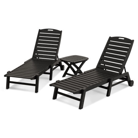 Nautical 3-Piece Chaise Set in Black