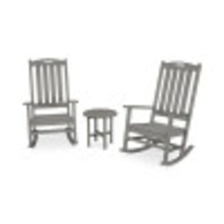 Nautical 3-Piece Porch Rocking Chair Set in Slate Grey