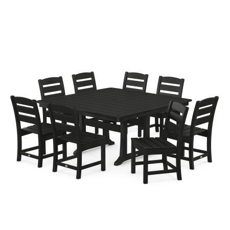 Lakeside 9-Piece Farmhouse Trestle Dining Set in Black