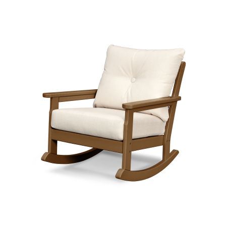 Vineyard Deep Seating Rocking Chair in Teak / Antique Beige