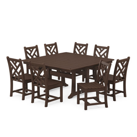 Chippendale 9-Piece Farmhouse Trestle Dining Set in Mahogany