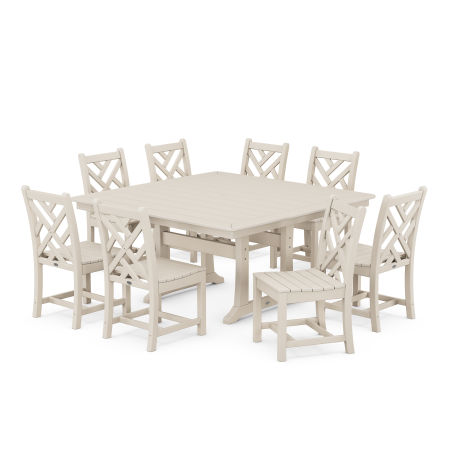 Chippendale 9-Piece Farmhouse Trestle Dining Set in Sand