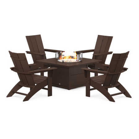 Modern Curveback Adirondack 5-Piece Conversation Set with Fire Pit Table in Mahogany