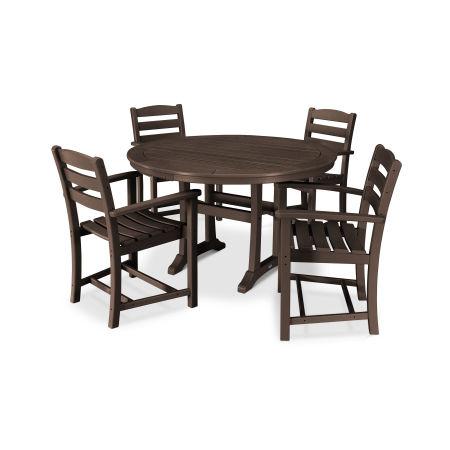 La Casa Café 5 Piece Arm Chair Dining Set in Mahogany