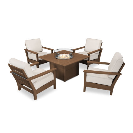 Harbour 5-Piece Conversation Set with Fire Pit Table in Teak / Antique Beige