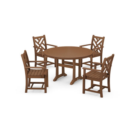 Chippendale 5-Piece Nautical Trestle Dining Arm Chair Set in Teak